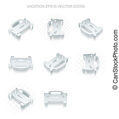 Tourism icons set: different views of metallic Car, transparent shadow, EPS 10 vector.