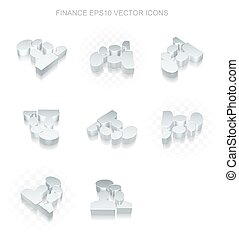 Finance icons set: different views of metallic Business Meeting, transparent shadow, EPS 10 vector.