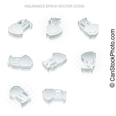 Insurance icons set: different views of metallic Car And Shield, transparent shadow, EPS 10 vector.