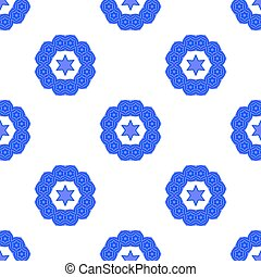 Blue David Star Seamless Background - Blue David Star...