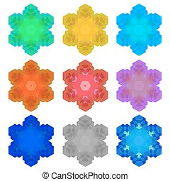 Set of Colorful Snowflakes Isolated