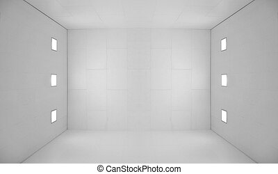White empty room with square lights - Large empty room with...