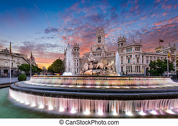 Madrid Spain Fountain and Palace - Madrid, Spain at Plaza de...