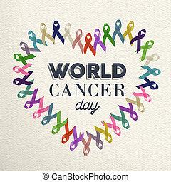 World cancer day heart shape design with ribbon - World...