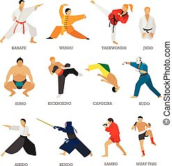 Vector set of martial arts people silhouette isolated on...
