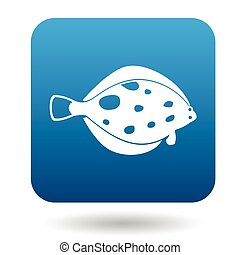Flounder fish icon, simple style - Flounder fish icon in...