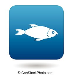 Fish icon, simple style - Fish icon in simple style in blue...