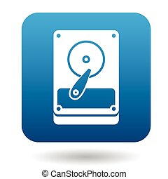 Hard drive data icon, simple style - Hard drive icon in...