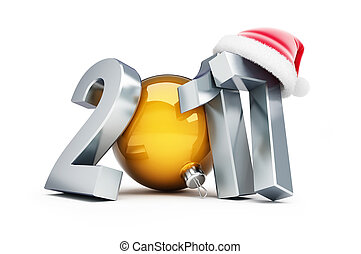 happy new year 2017 santa hat 3d Illustrations on a white...