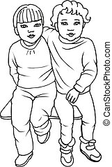 Vector illustration of two cute little girls