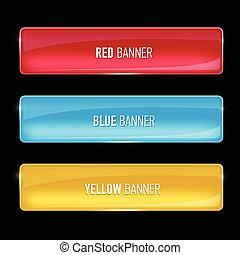 Set of glass yellow, red and blue banners