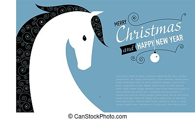 Christmas and Happy new year card for Horse year