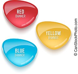 Set of glass red, blue and yellow banners