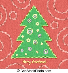 Christmas tree in patchwork style.