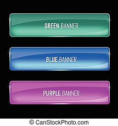 Set of glass green, blue and purple banners