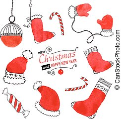Set of hand drawn Christmas doodles for design