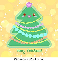 Vector Clip Art of Kawaii Christmas tree with smiling face, star ...