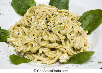 Spaghetti with salmon creamy sauce - Traditional italian...