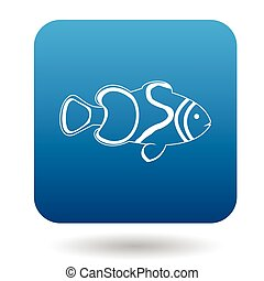Clown fish icon, simple style - Clown fish icon in simple...