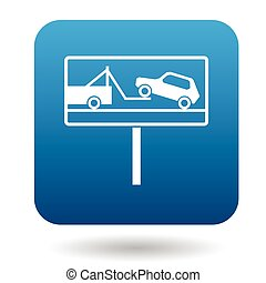 Signs of evacuation of cars icon, simple style - Signs of...