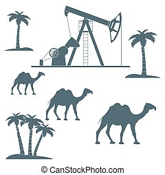 Stylized icon of the equipment for oil production on a  background with palm trees and camels