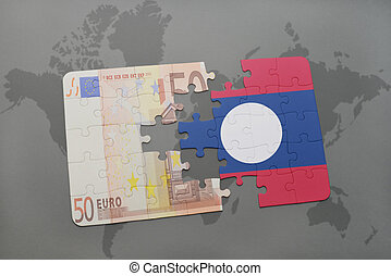 puzzle with the national flag of laos and euro banknote on a world map background.