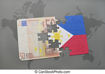 puzzle with the national flag of philippines and euro banknote on a world map background.