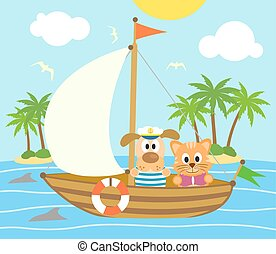 Dog and cat on boat, vector card
