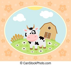 Farm background with cow