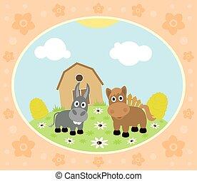 Farm background with horse,donkey