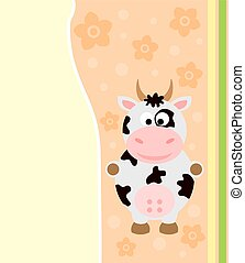 Background vector with funny cow