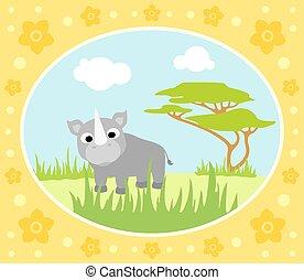 Safari vector card with rhino