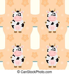 Seamless vector with funny cow