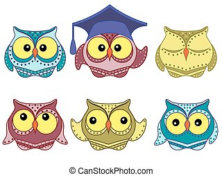 Six amusing colorful owls - Set of six amusing colorful...