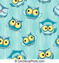 Amusing blue owls seamless pattern - Amusing blue owls with...