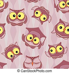 Funny owls seamless pattern - Amusing owls with big yellow...