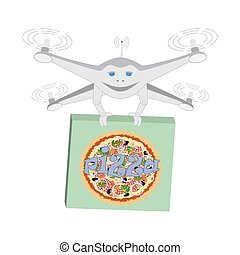 Drone. Air delivery pizza. Isolated
