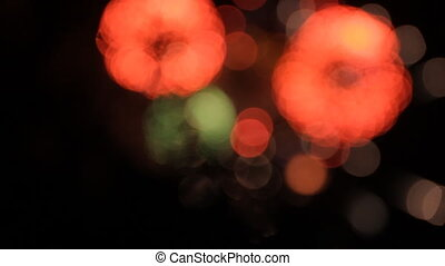 Fireworks with bokeh. Red and green.