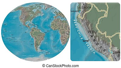 Peru and The Americas map - Peru enlarged from The Americas...