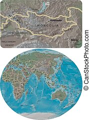 Mongolia and Asia Oceania map - Mongolia enlarged from Asia...