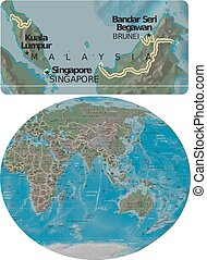 Malaysia and Asia Oceania map - Malaysia enlarged from Asia...