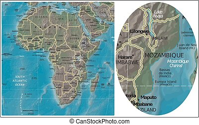 Mozambique Africa maps - Mozambique enlarged fron Africa map