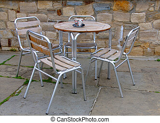 Table and chairs on a patio