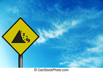 Photo realistic sign depicting \'falling Dollar\' With space for y