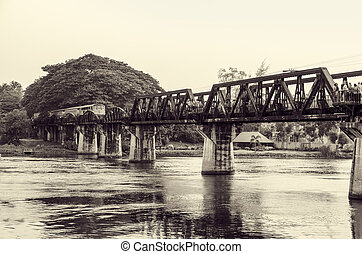 Black and white bridge over the River Kwai - Black and white...