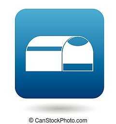 Pet travel portable cage icon, simple style