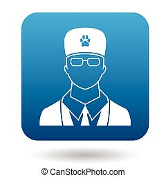 Male veterinarian doctor icon, simple style - Male...
