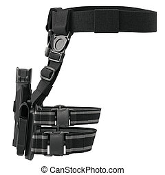 Holster weapon, front view - Holster army plastic on belt...