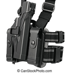 Holster black plastic, close view - Holster black plastic on...