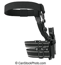 Holster belt, back view - Holster plastic on belt with...